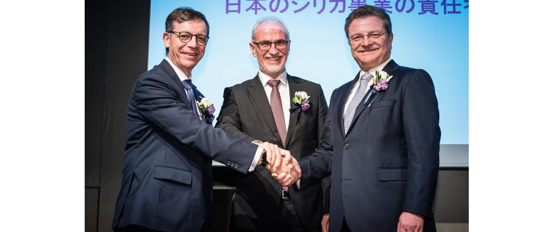 社長交代式、左からフロリアン・キルシュナー、ハラルド・シュヴァーガー、ヴォルフガング・カスター